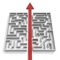 Maze with red arrow cutting through it